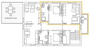 Grundriss der Ferienwohnung 1 im Haus Hienhartweg 11