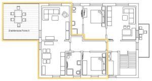 Grundriss der Ferienwohnung 2 im Haus Hienhartweg 11