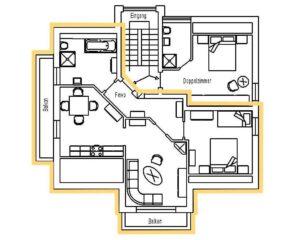 Grundriss der Ferienwohnung 3 im Haus Am Anger 8, Ferienwohnungen Sankt Englmar